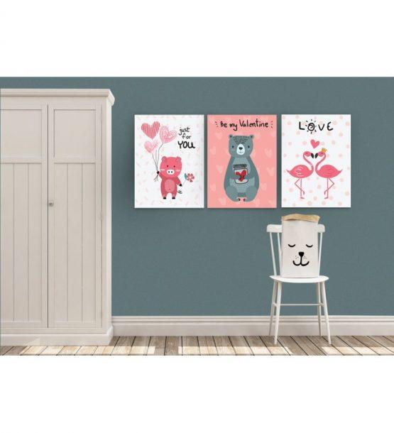 Σύνθεση Με Πίνακες Καμβάδες 30×40 – 3 Τεμάχια -Be My Valentine