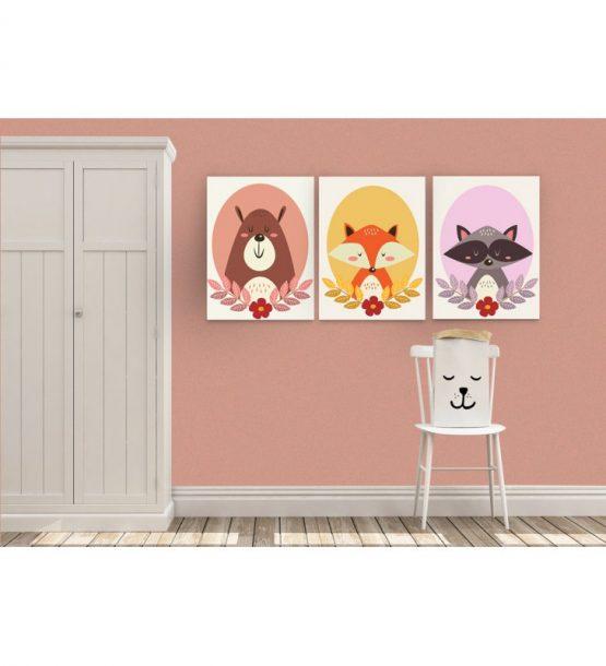 Σύνθεση Με Πίνακες Καμβάδες 30×40 – 3 Τεμάχια – Ζώα Σε Πλαίσιο